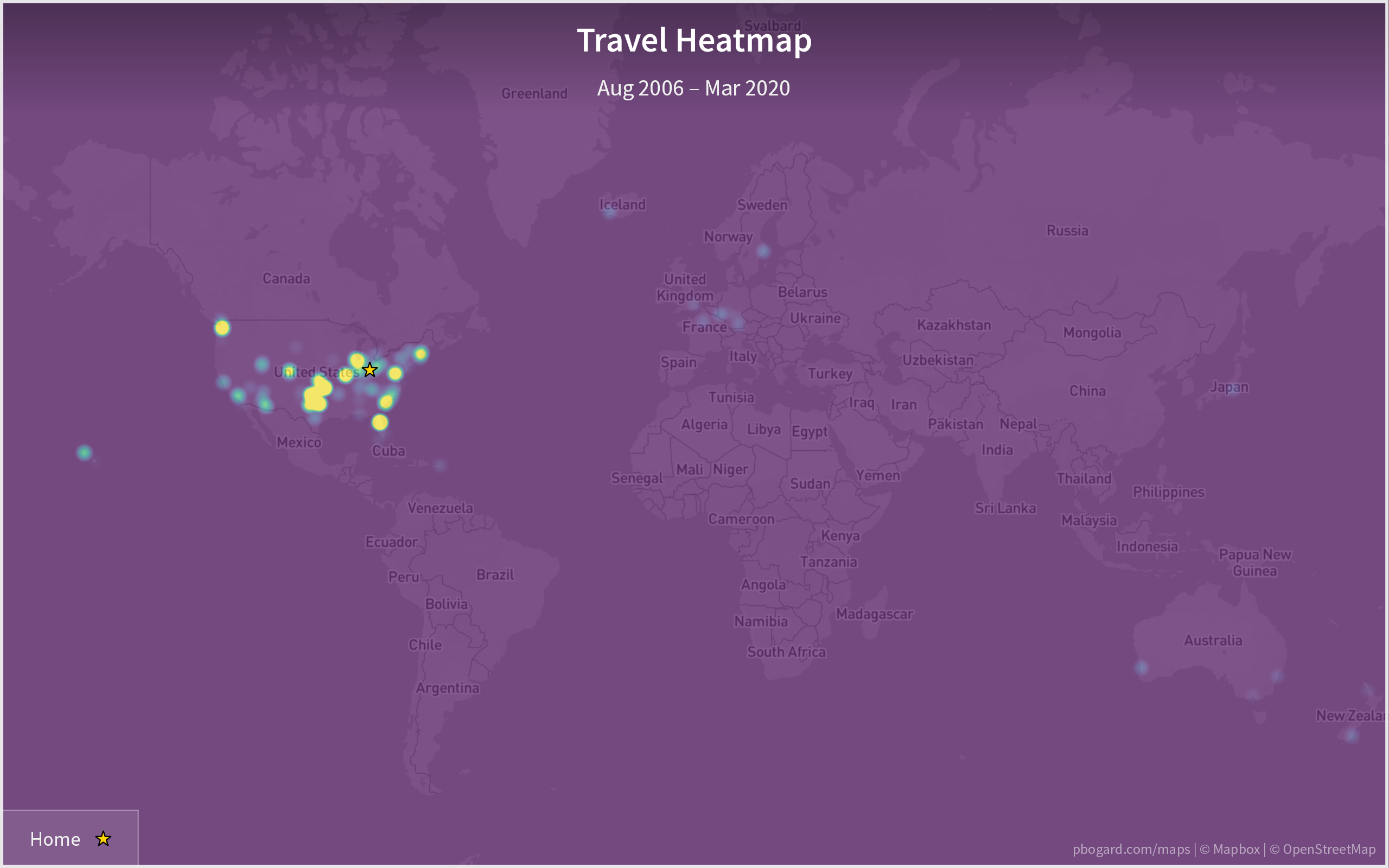 Heatmap of the world, showing Paul's time spent in various locations.