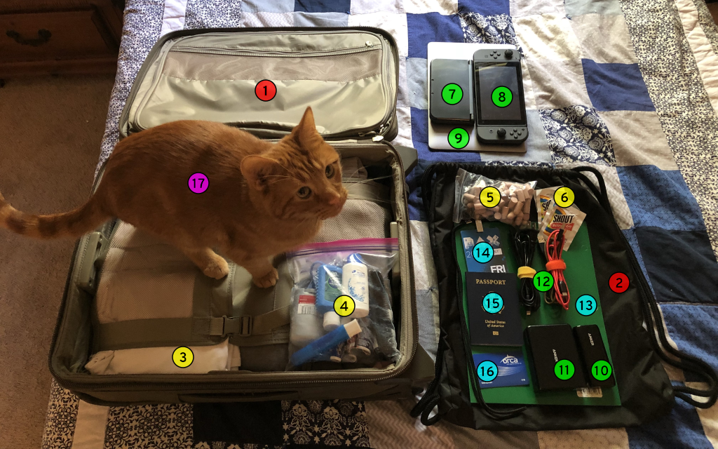 A suitcase and its contents laid out on the bed. Every item is labeled with a number that corresponds to the numbered headings in this document. A cat is standing on the suitcase.