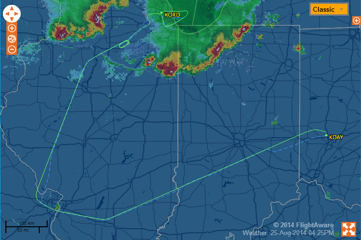 FlightAware map showing a track from KDAY west to St. Louis and northeast to KORD.
