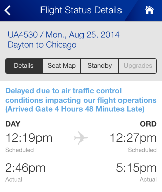 The United Airlines app, showing a 25 August flight from DAY to ORD. Departure was scheduled for 12:19 EDT and actually at 14:46 EDT; arrival was scheduled for 12:27 CDT and actually at 17:15 CDT.