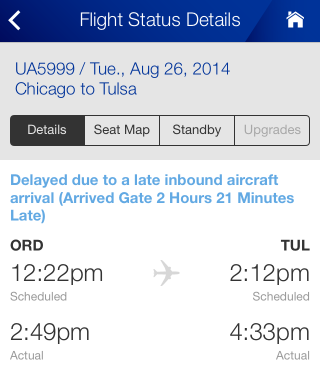 The United Airlines app, showing a 26 August flight from ORD to TUL. Departure was scheduled for 12:22 CDT and actually at 14:49 CDT; arrival was scheduled for 14:12 CDT and actually at 16:33 CDT.