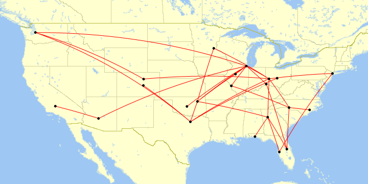 A map of all my flights in 2017.