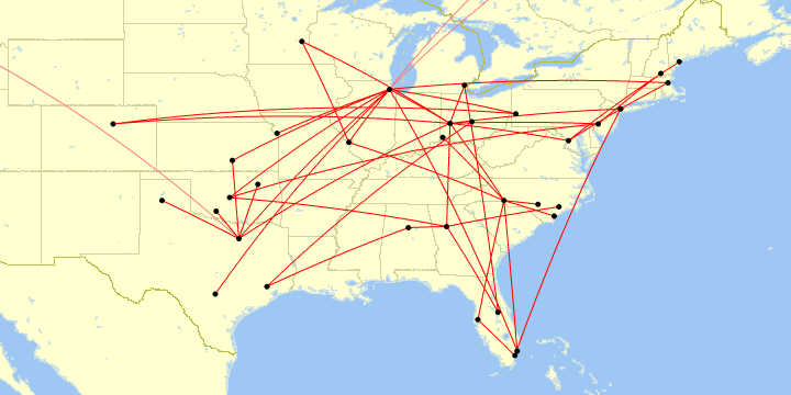 A map of my flights in 2019 within North America.