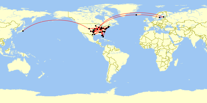 A map of all my flights in 2019.