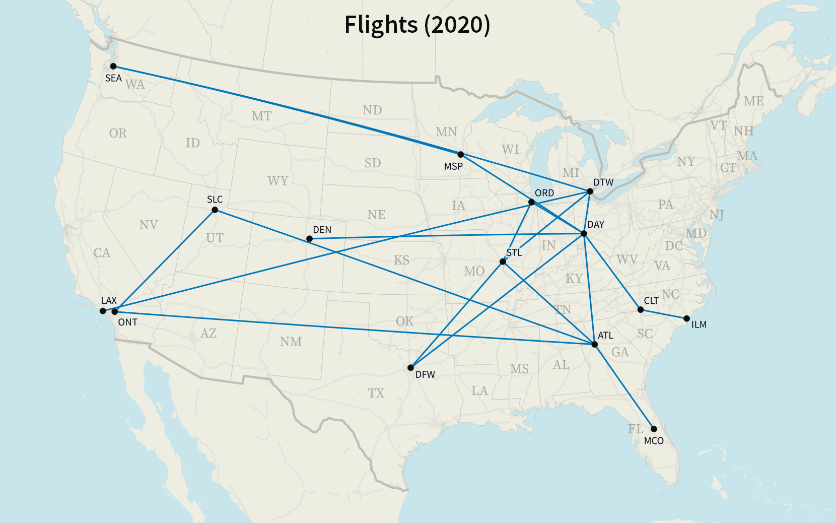 A map of all my flights in 2020.