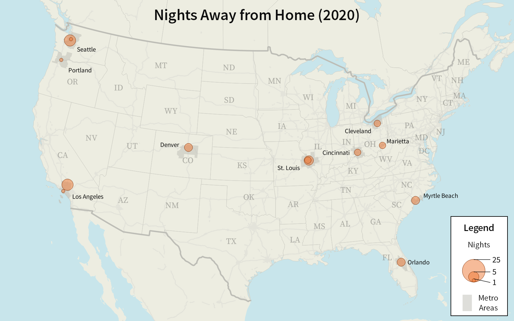 A map of the United States with circles showing how many nights I spent in various locations. The three largest circles are Seattle, the Mojave desert near Los Angeles, and St. Louis.