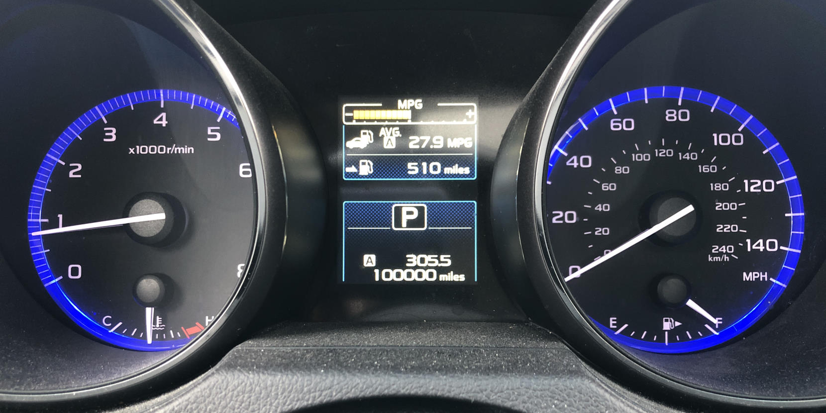My odometer, showing 100000 miles.