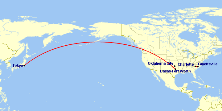 A map showing a route between Dallas/Fort Worth and Tokyo, a route between Charlotte and Fayetteville, and a marker for Oklahoma City.