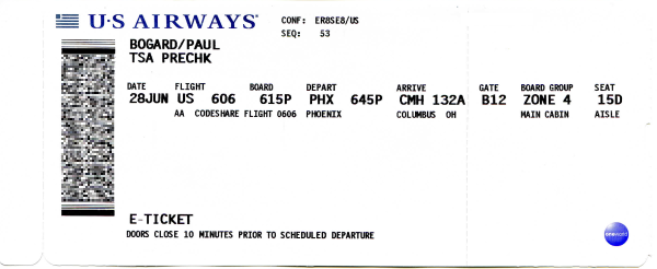 Scan of a US Airways boarding pass, prominently showing a PDF417 2-D barcode.