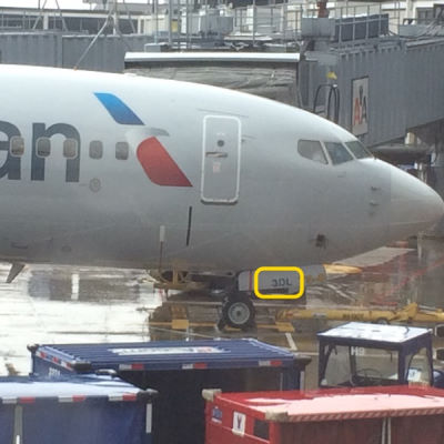 Fleet number highlighted on an American Airlines jet.