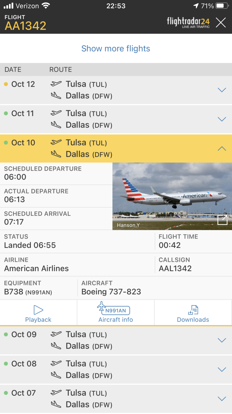 Flightradar24 app search results for AA1342.