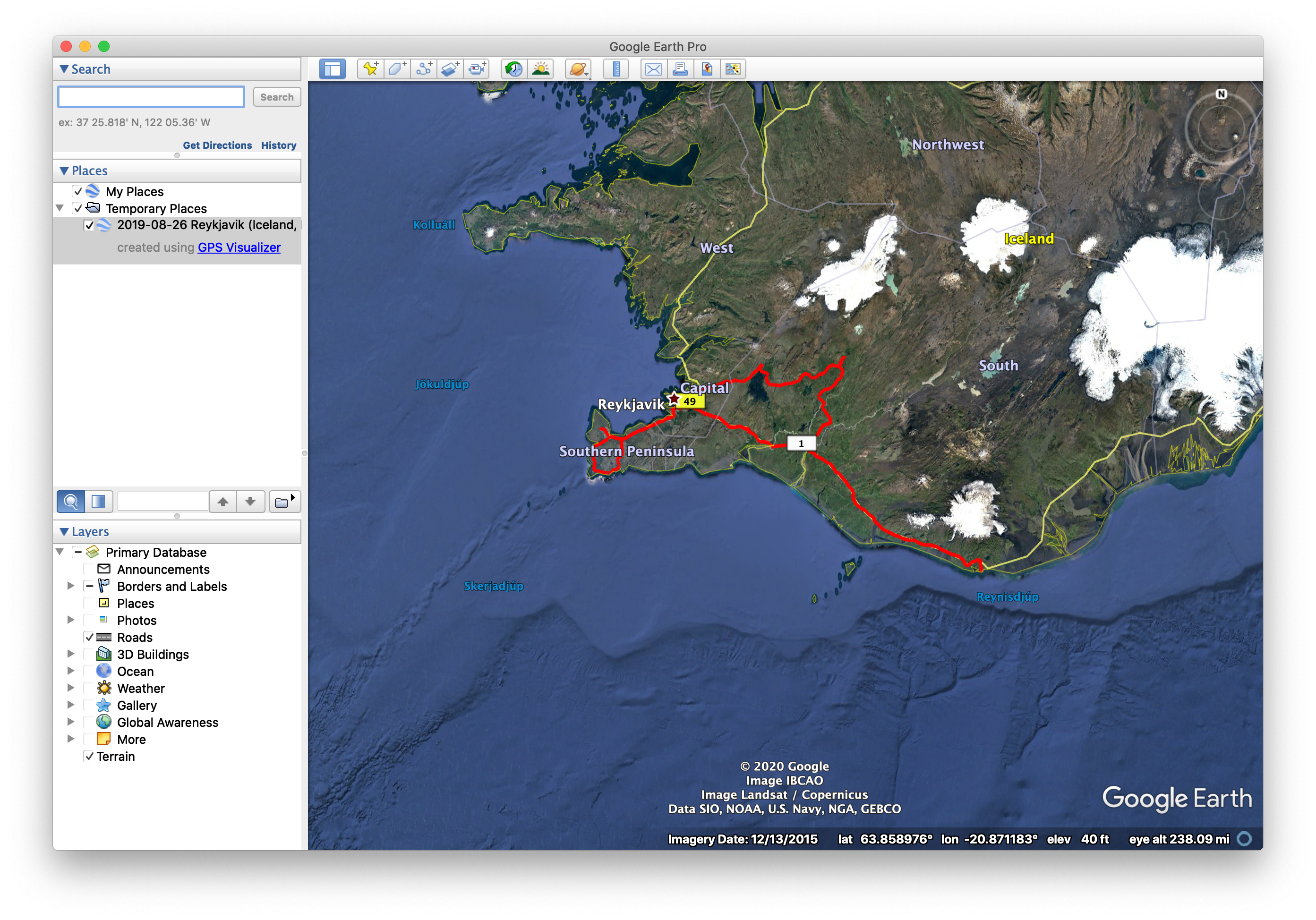 Google Earth Pro, showing a driving track in southwest Iceland.