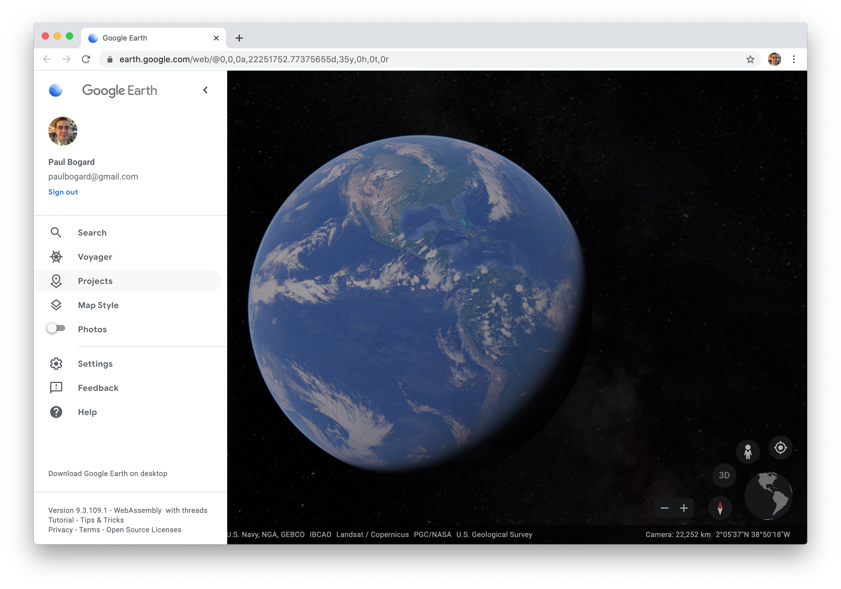 Google Earth Web sidebar menu.