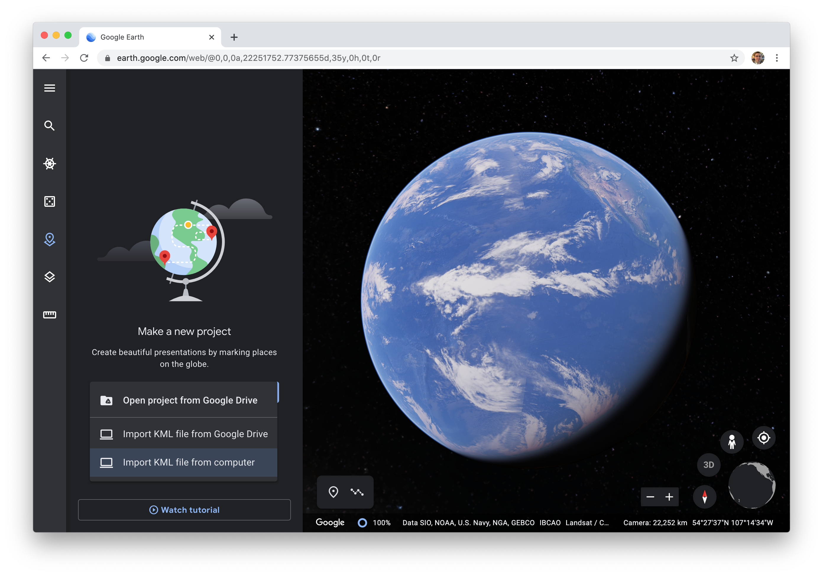 Google Earth Web Open Project menu.