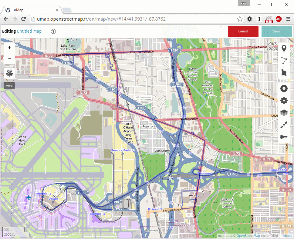 uMap with GPX file imported.