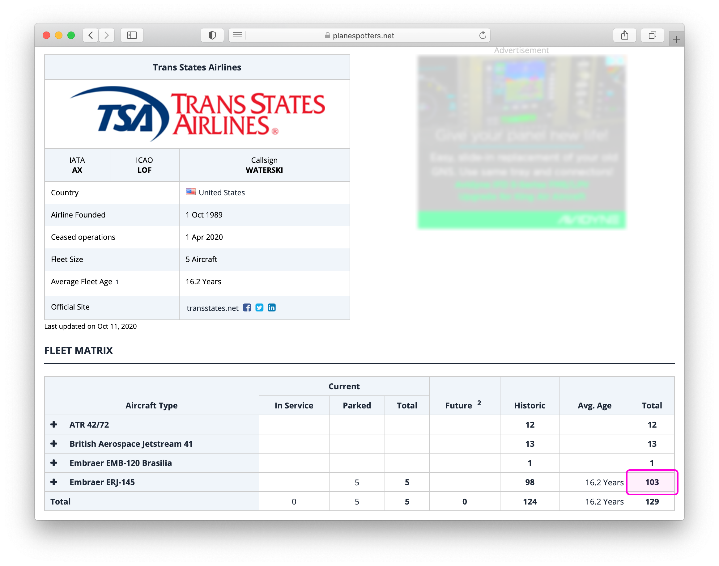Planespotters.net fleet details page for Trans States Airlines. The cell at the intersection of the Embraer ERJ-145 row and the Total column is highlighted in magenta.